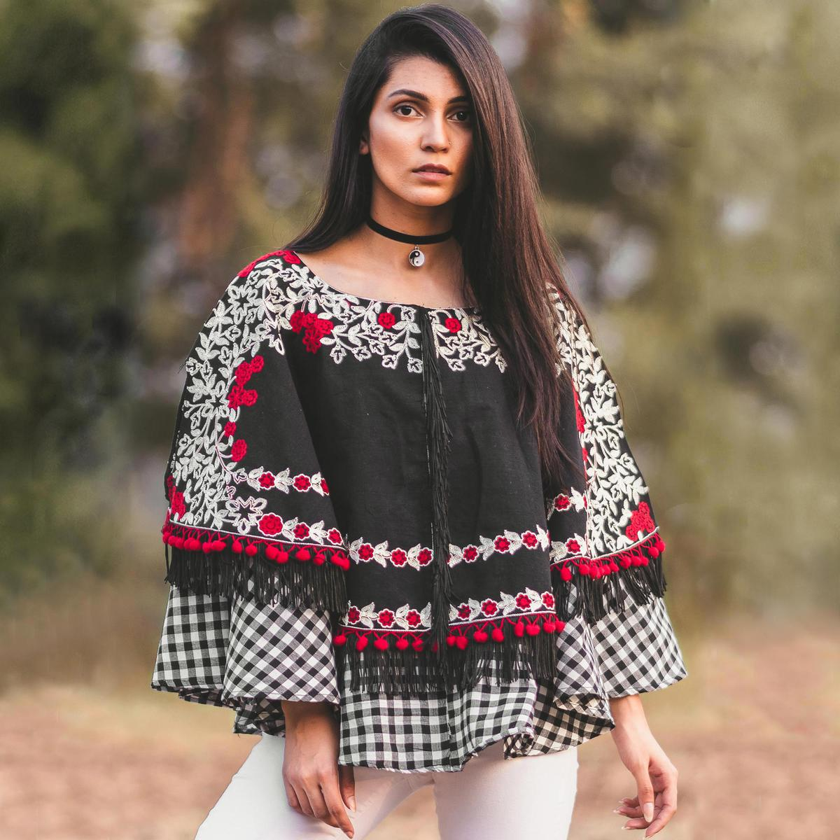Energetic Black Colored Printed Khadi Cotton Poncho