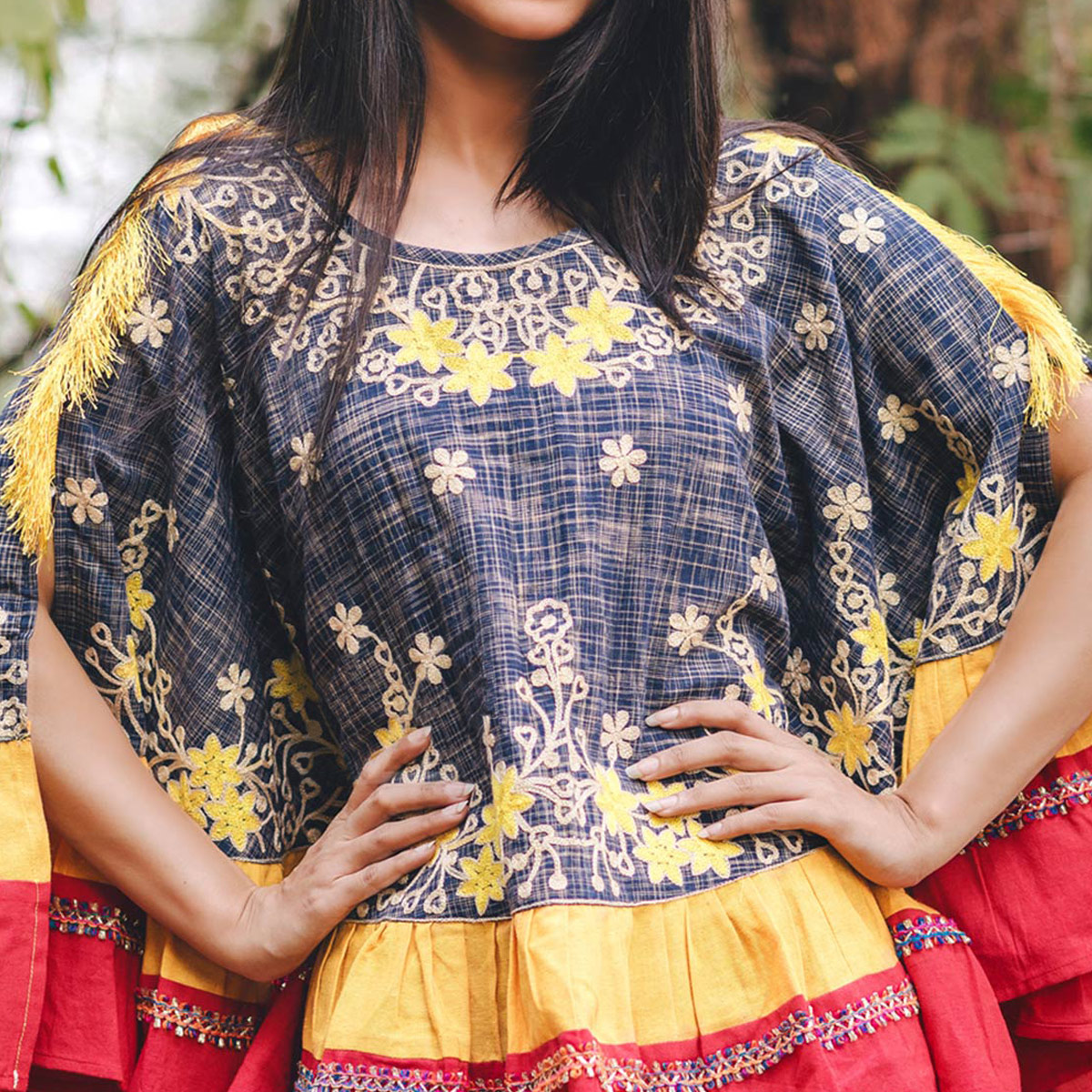 Glowing Navy Blue & Red Colored Printed Khadi Cotton Poncho