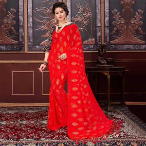 Adorable Red Colored Party Wear Printed Fancy Net Saree