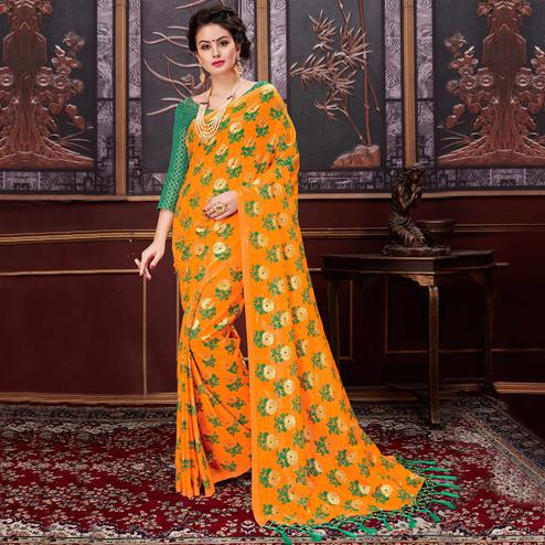 Beautiful Orange Colored Party Wear Printed Fancy Net Saree