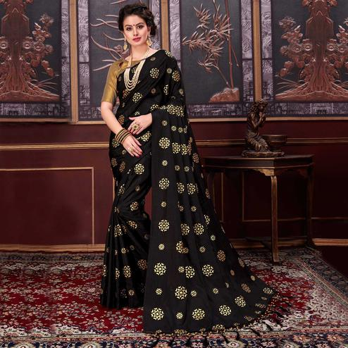 Gorgeous Black Colored Party Wear Printed Fancy silk Saree