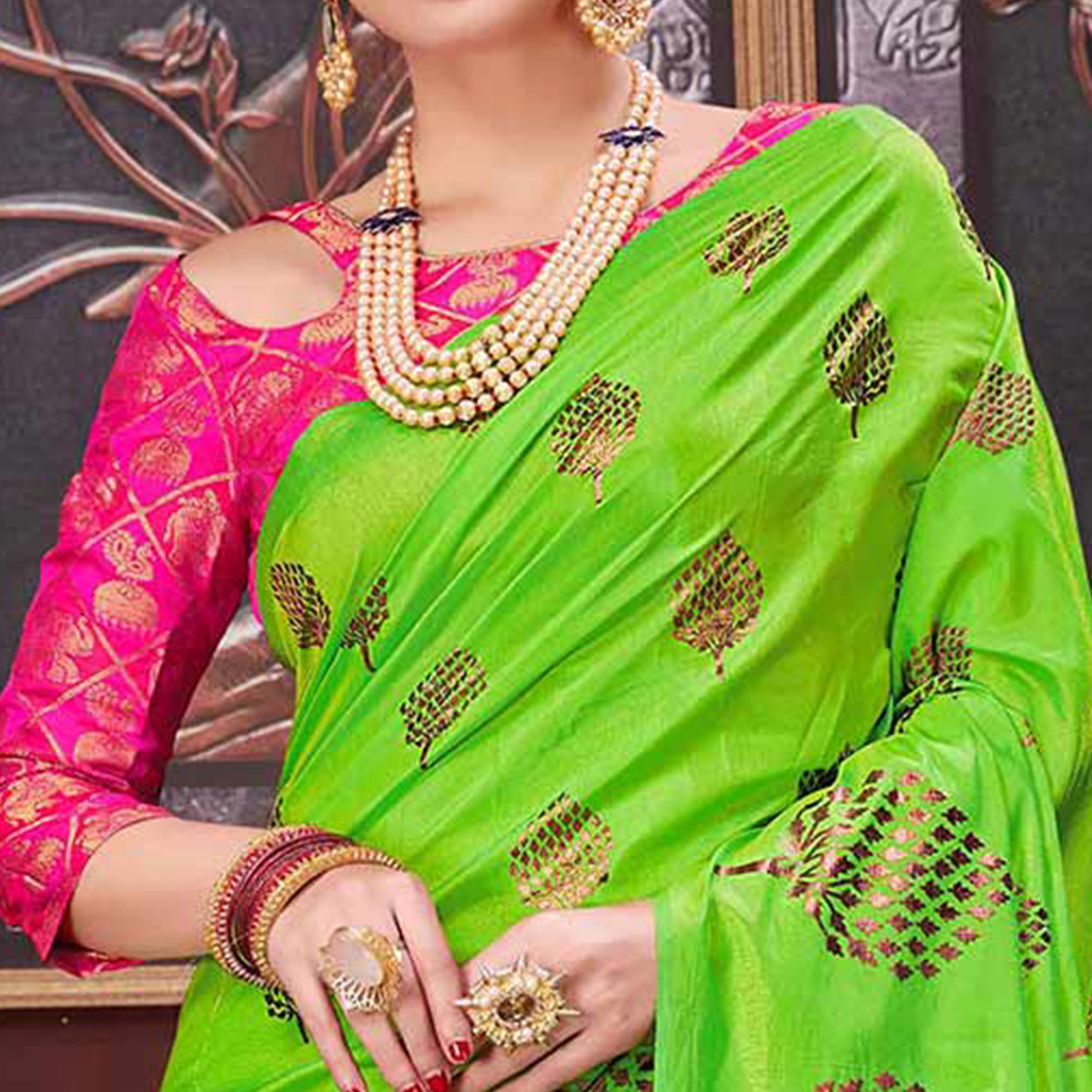 Classy Parrot Green Colored Party Wear Printed Fancy silk Saree
