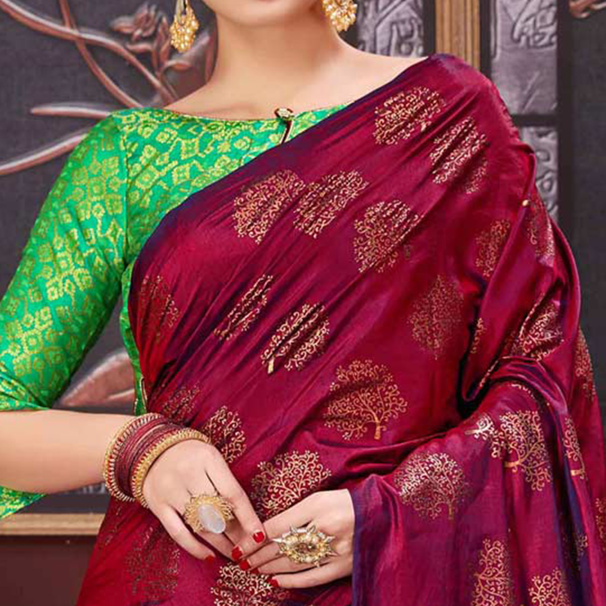 Graceful Maroon Colored Party Wear Printed Fancy silk Saree