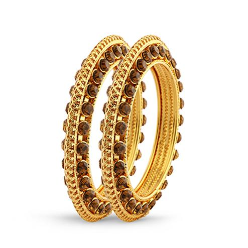 Gold Finish & Stone Designer Bangle