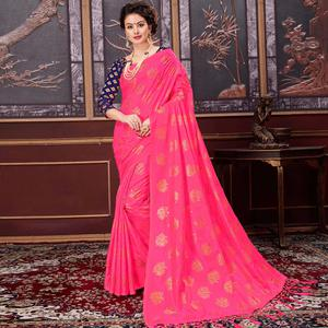 Charming Fuchsia Pink Colored Party Wear Printed Fancy silk Saree