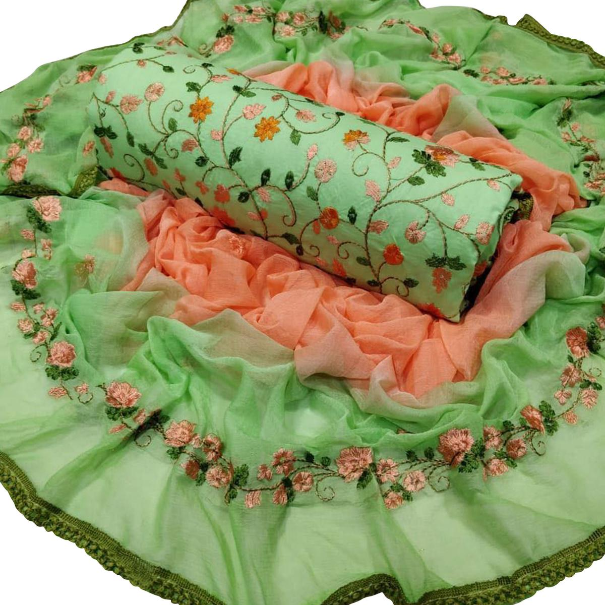 Stunning Green Colored Party Wear Embroidered Work Cotton Salwar Suit