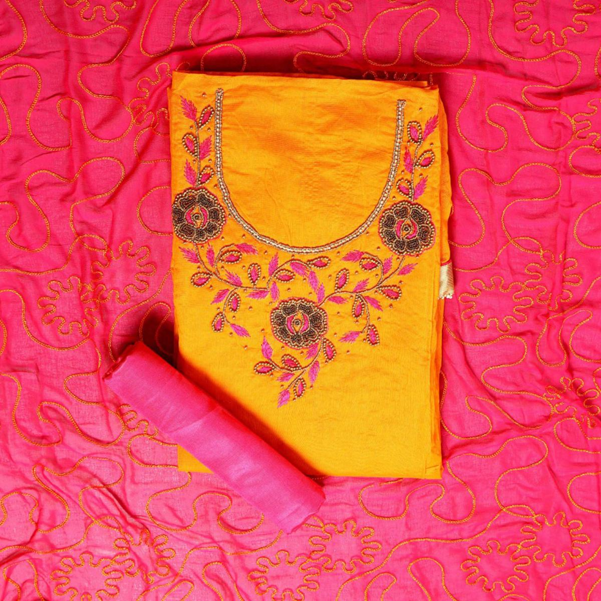 Arresting Yellow Colored Party Wear Embroidered Semi Modal Salwar Suit
