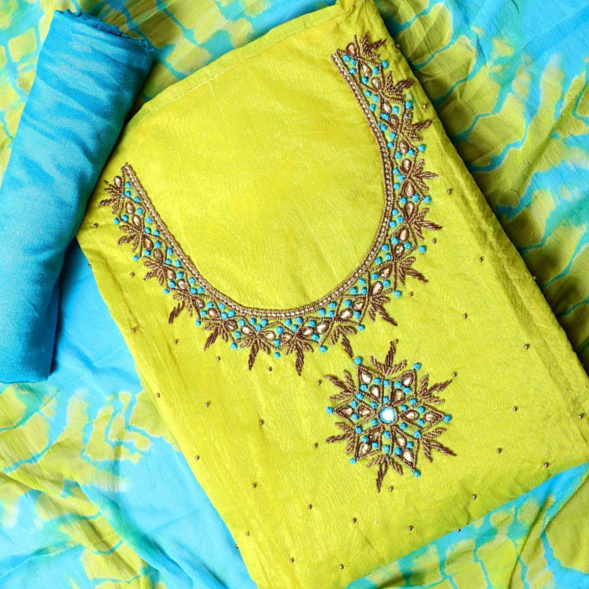 Ethnic Light Green Colored Party Wear Embroidered Semi Modal Salwar Suit