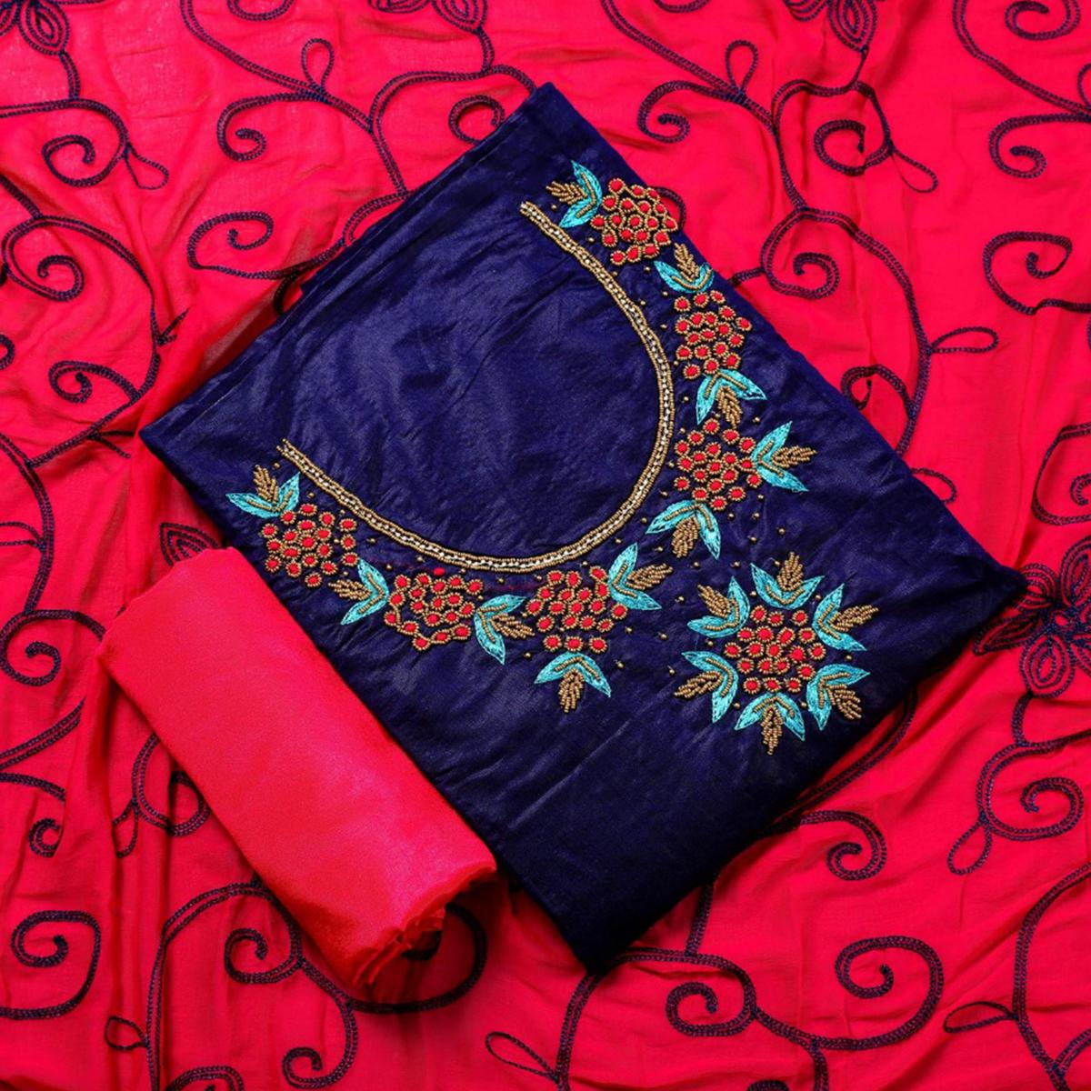 Starring Navy Blue Colored Party Wear Embroidered Semi Modal Salwar Suit