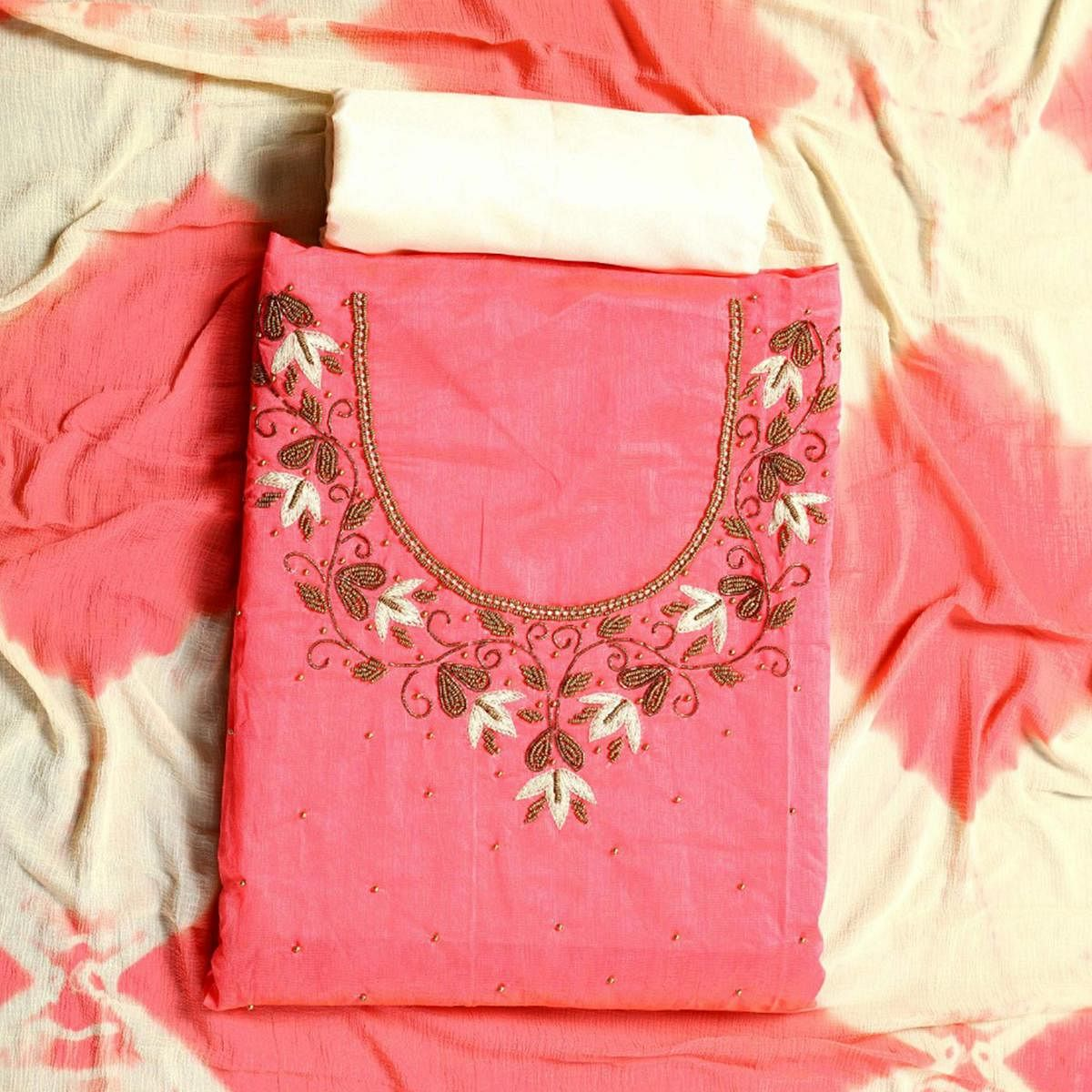 Glowing Pink Colored Party Wear Embroidered Semi Modal Salwar Suit