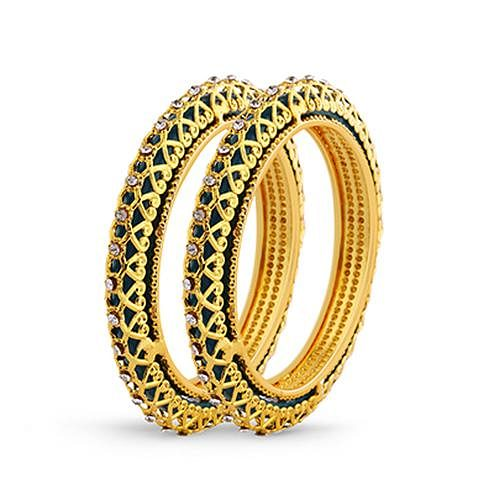 White Stone & Gold Plated Traditional Bangle