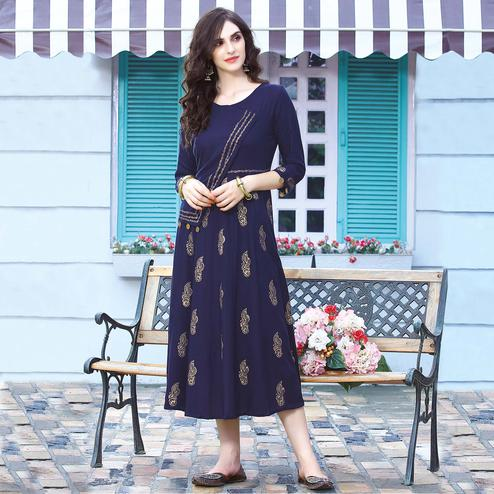 Attractive Navy Blue Colored Embroidered Rayon Kurti