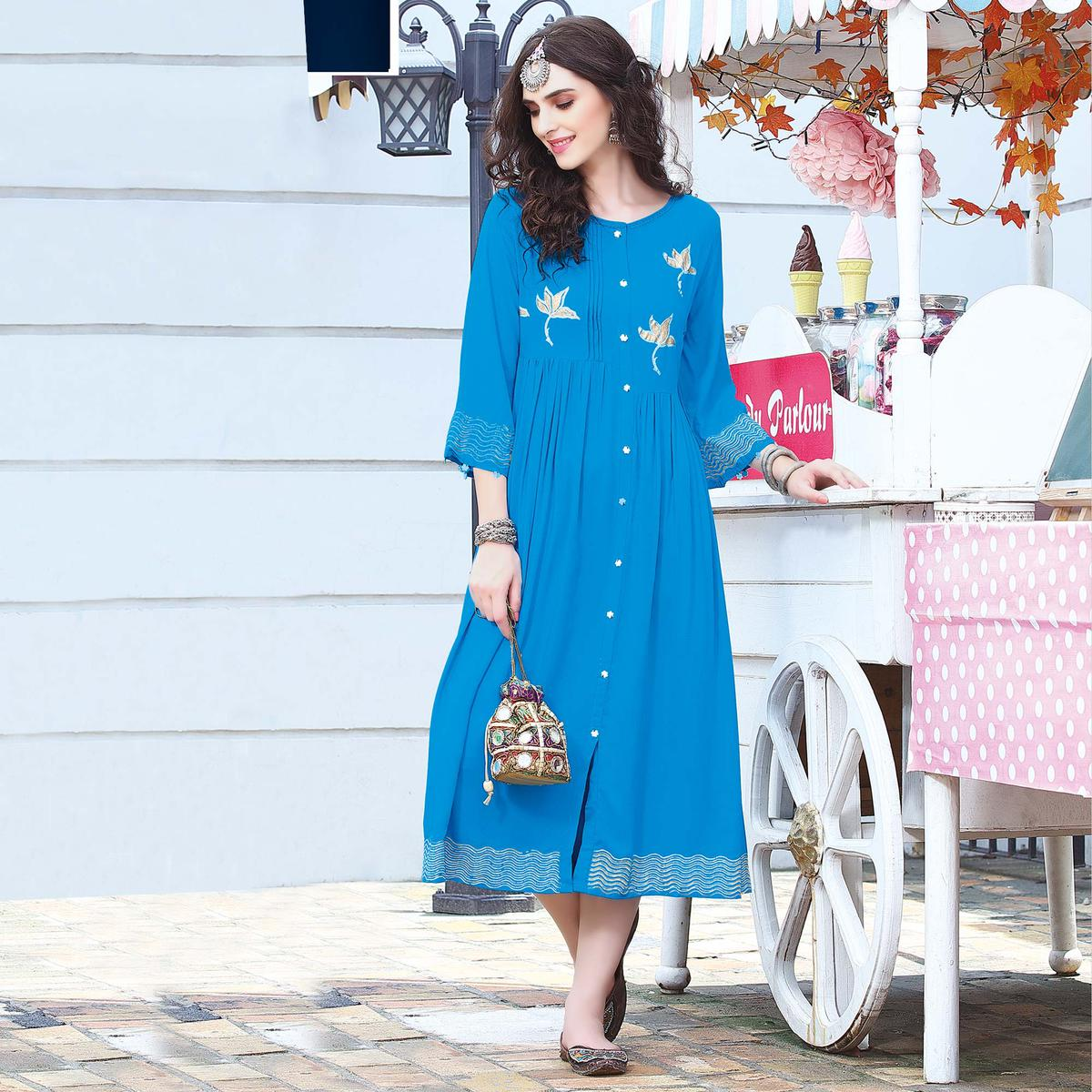 Classy Sky Blue Colored Embroidered Rayon Kurti