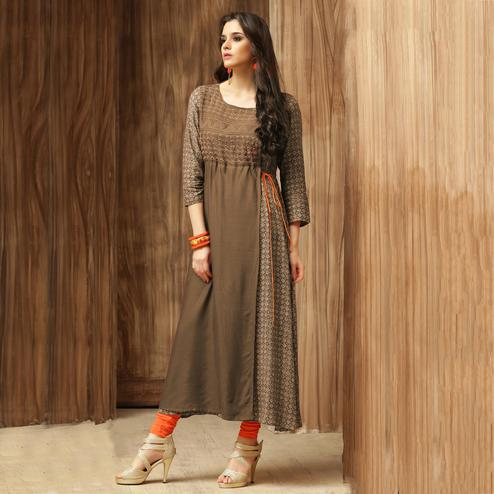 Awesome Brown Colored Casual Wear Printed Cotton Kurti