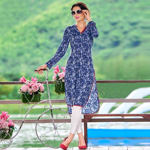 Pretty Blue Colored Casual Printed Rayon Cotton Kurti