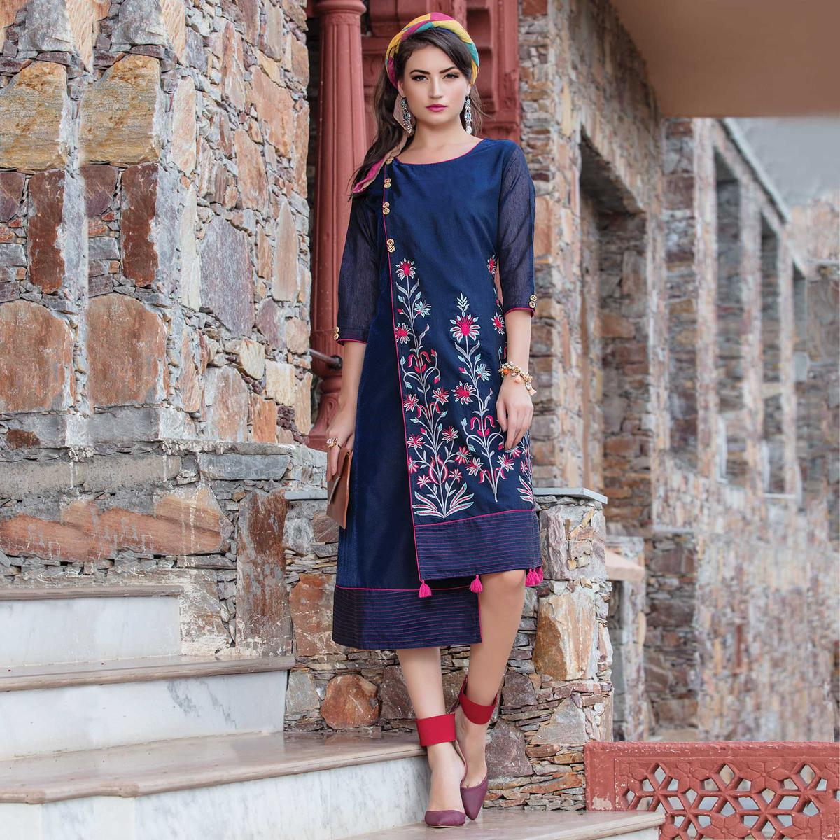 Alluring Blue Colored Casual Wear Embroidered Art Silk Kurti