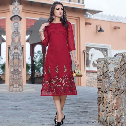 Innovative Maroon Colored Casual Wear Embroidered Art Silk Kurti