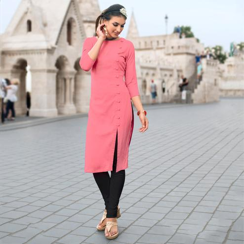 Sizzling Pink Colored Casual Wear Linen Cotton Kurti