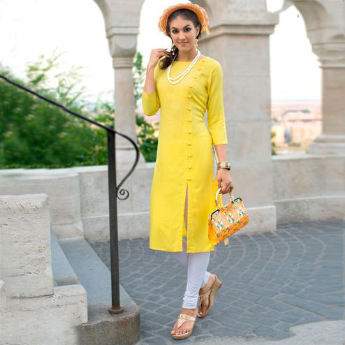 Classy Yellow Colored Casual Wear Linen Cotton Kurti