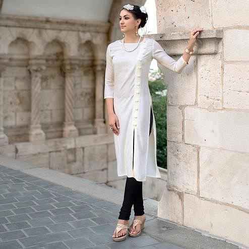 Stylish Off-White Colored Casual Wear Linen Cotton Kurti