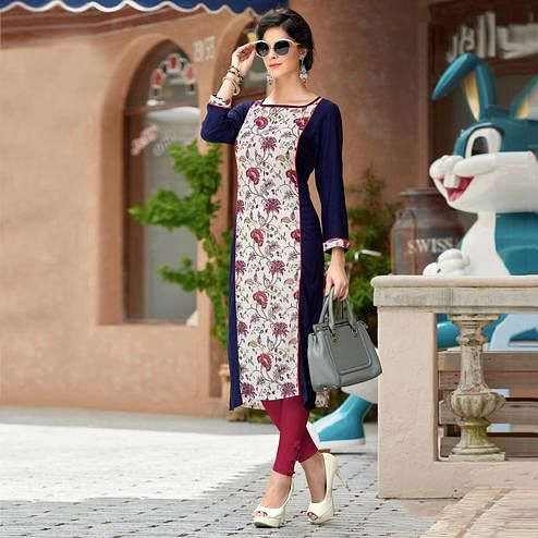 Stunning White & Navy Blue Colored Casual Wear Printed Rayon Cotton Kurti
