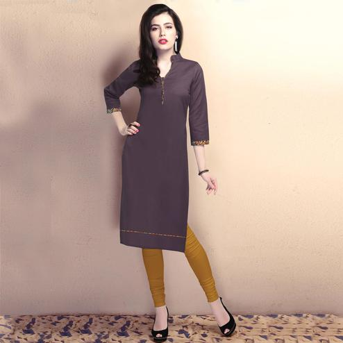 Trendy Wine Colored Casual Wear Cotton Kurti