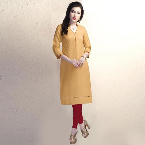 Cool Mustard Colored Casual Wear Cotton Kurti