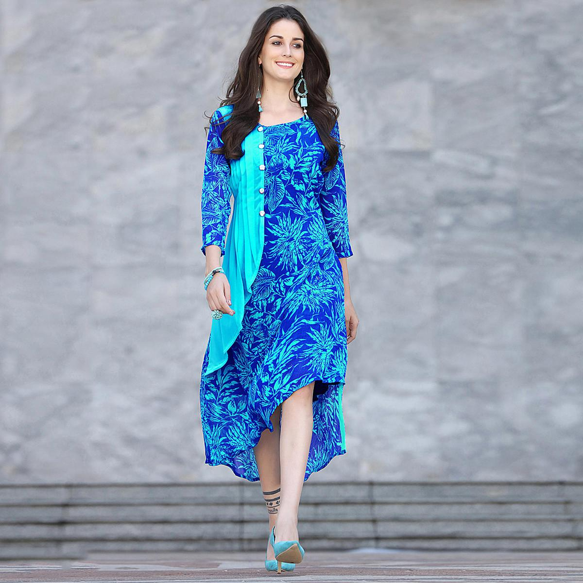 Stylish Blue Colored Printed Georgette Kurti