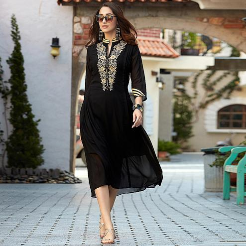 Arresting Black Colored Embroidered Party Wear Georgette Kurti