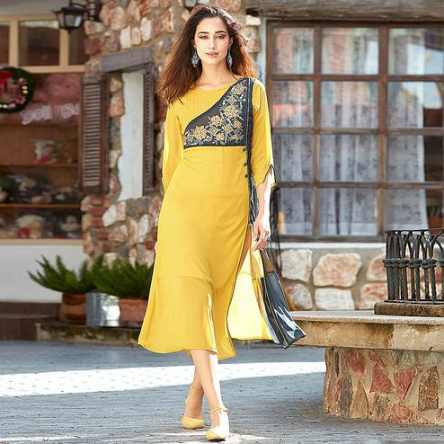 Blooming Yellow Colored Embroidered Party Wear Georgette Kurti