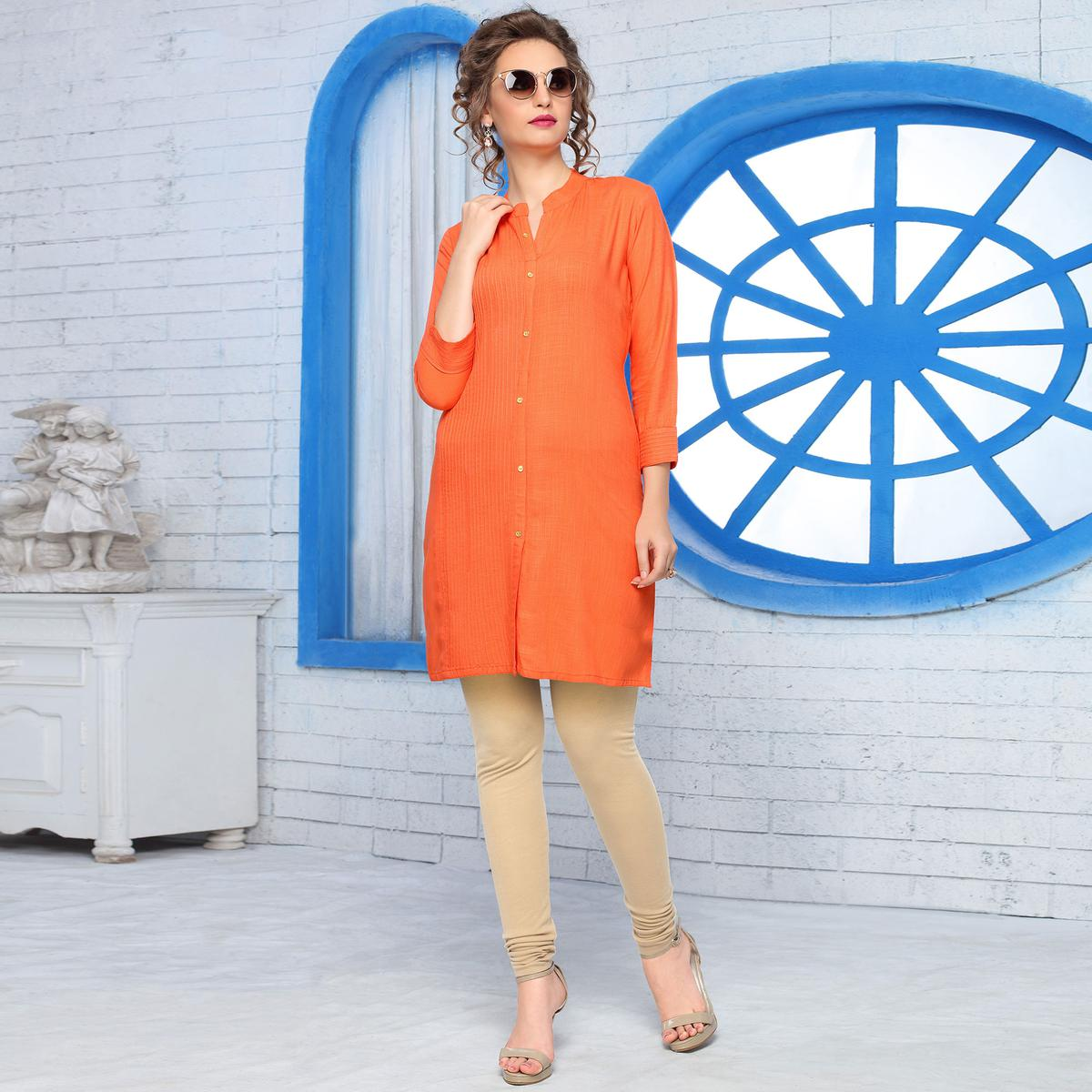 Glowing Orange Colored Casual Wear Cotton Kurti