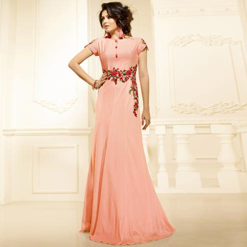 Glorious Peach Colored Designer Emnroidered Party Wear Art Silk Long Kurti