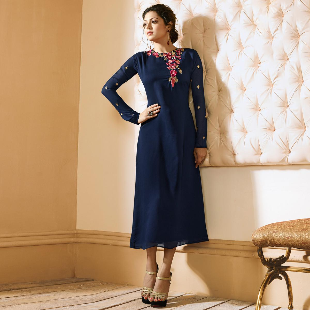 Lovely Blue Colored Embroidered Party Wear Georgette Kurti