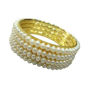 Set of 4 Golden Pearl Bangles