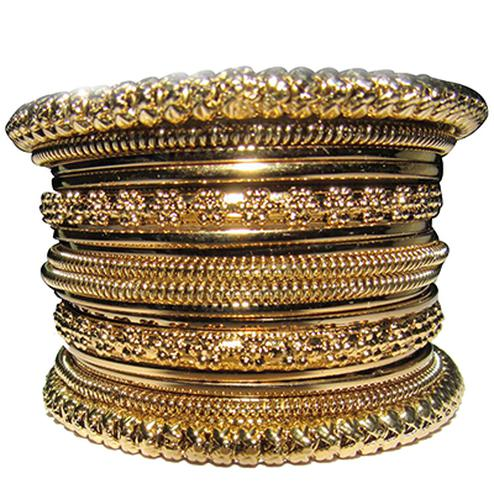 Antic Copper Color 16 Bangles Set