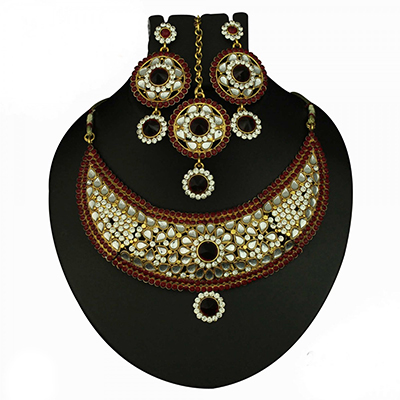 Kundan Maroon Austrian Stone Gold Finish Necklace Sets With Maang Tia