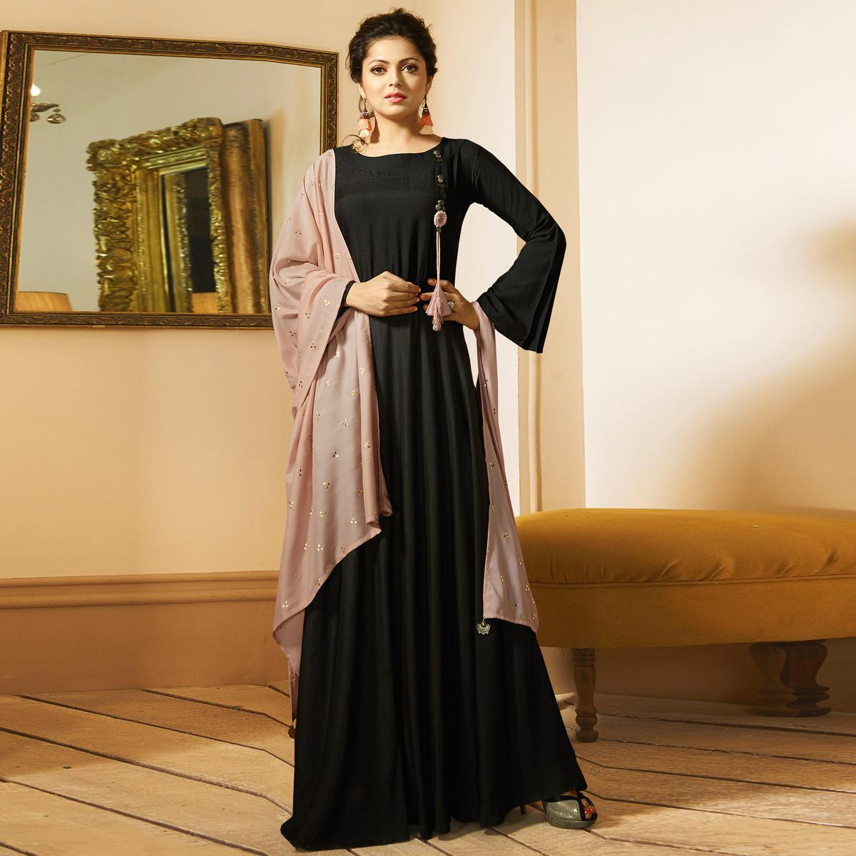 Adorable Black Colored Designer Party Wear Long Maslin Silk Kurti