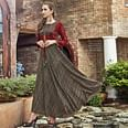 Appealing  Dark Brown Colored Designer Party Wear Long Rayon Kurti