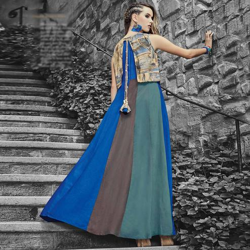 Marvellous Blue Colored Designer Party Wear Long Viscose-Rayon Kurti