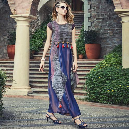 Mesmerising Blue Colored Designer Party Wear Long Silk Kurti
