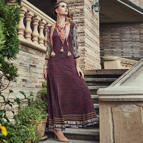 Exotic Brown Colored Designer Party Wear Long Rayon Kurti