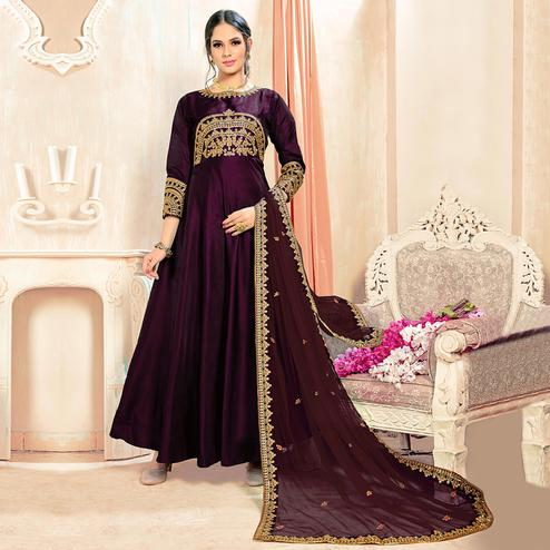 Adorning Wine Colored Partywear Embroidered Tapeta Silk Anarkali Suit