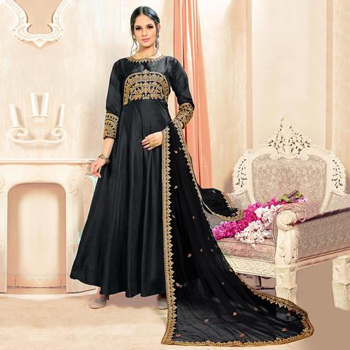 Deserving Black Colored Partywear Embroidered Tapeta Silk Anarkali Suit