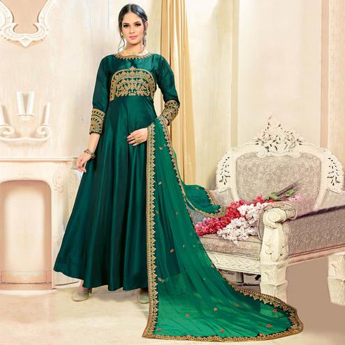 Awesome Green Colored Partywear Embroidered Tapeta Silk Anarkali Suit