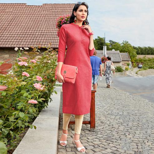Smart Pink Colored Casual Wear Cotton Kurti