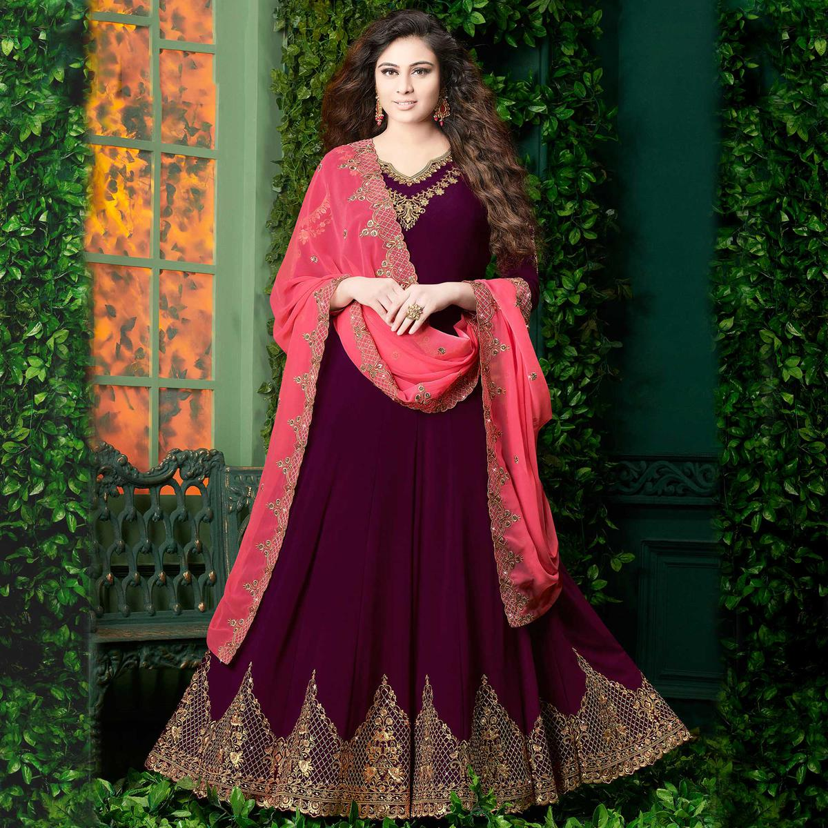 Excellent Wine Colored Partywear Embroidered Georgette Anarkali Suit