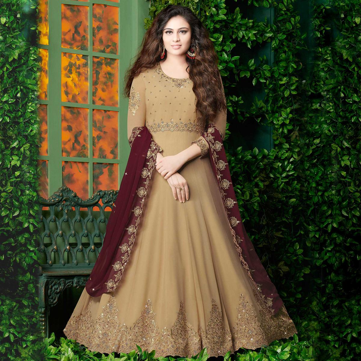 Blooming Beige Light Brown Colored Partywear Embroidered Georgette Anarkali Suit