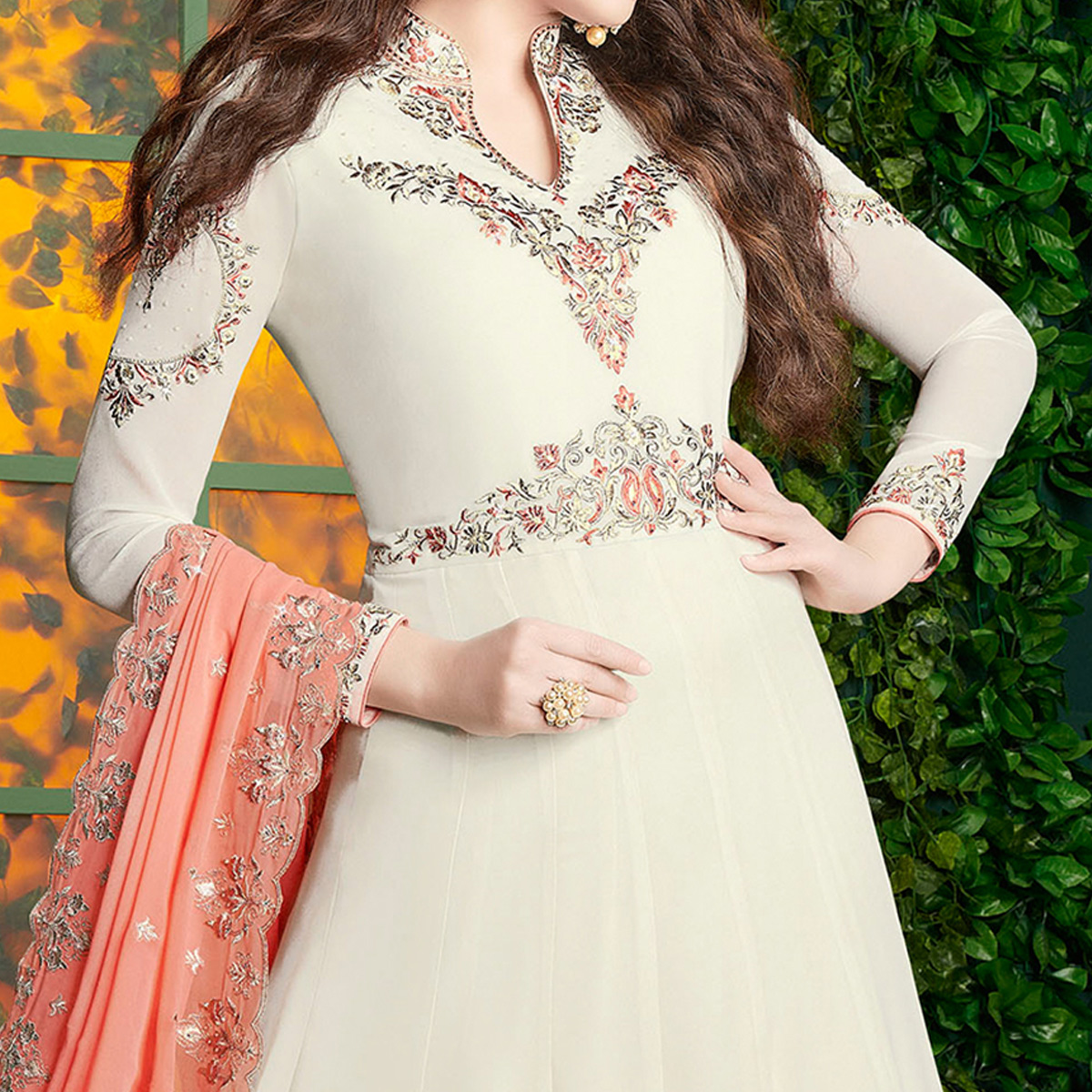 Pleasant Off-White Colored Partywear Embroidered Georgette Anarkali Suit-copy