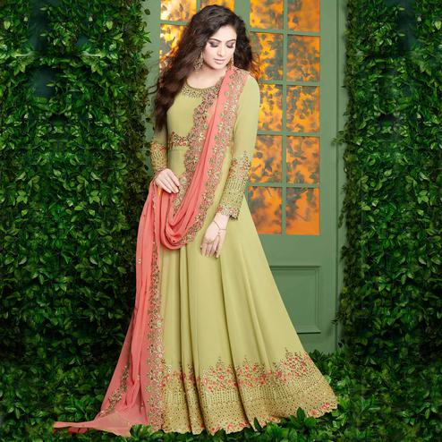 Appealing Pastel Green Colored Partywear Embroidered Georgette Anarkali Suit