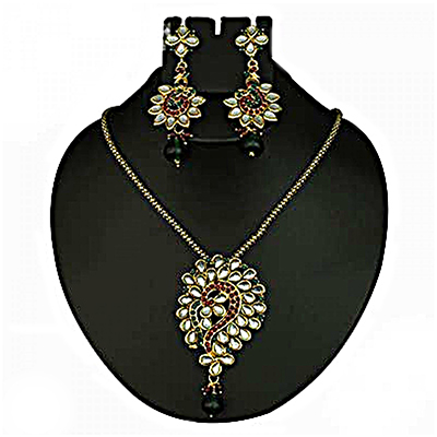 Kundan Red & Green Austrian Stone Drop Gold Finish Pendant Sets